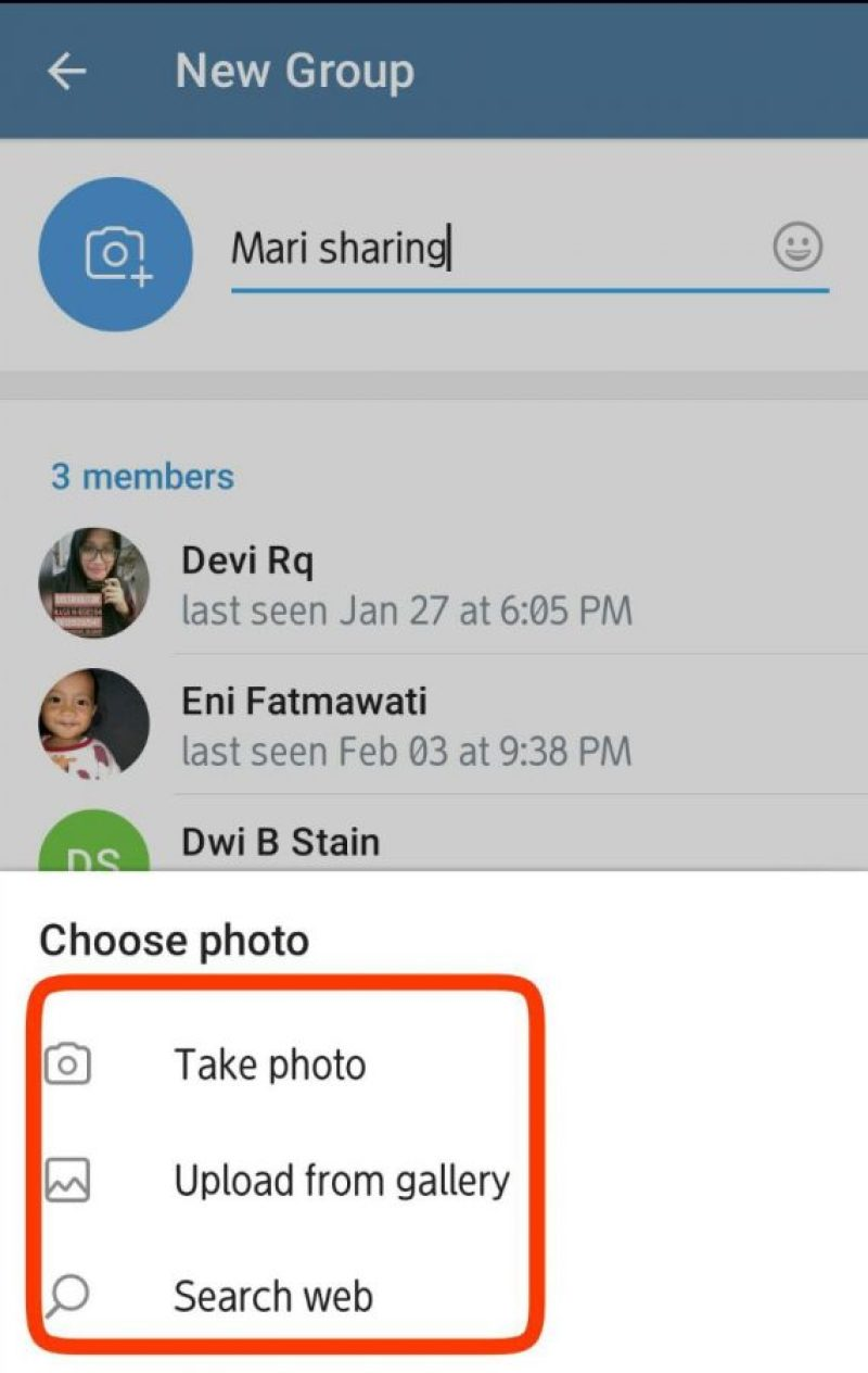 Opsi, take photo, upload from gallery, search web