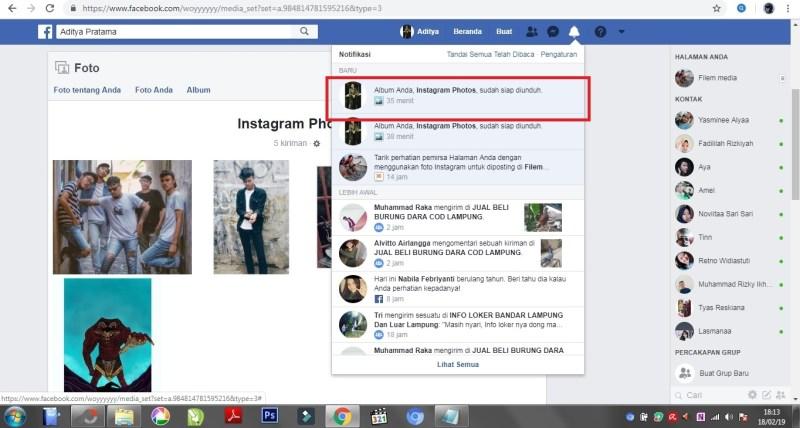 Tampilan saat notifikasi masuk ke pemberitahuan facebook.