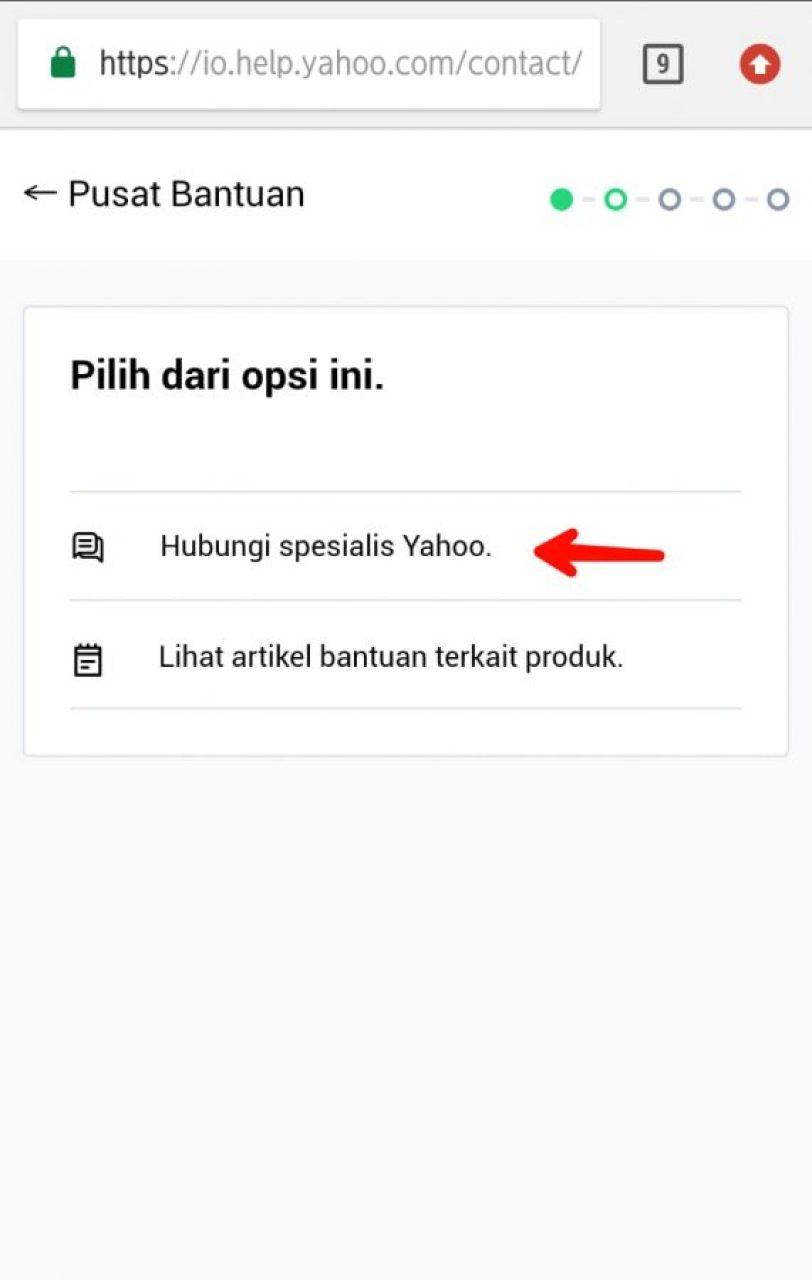 Pilih hubungi spesialis Yahoo