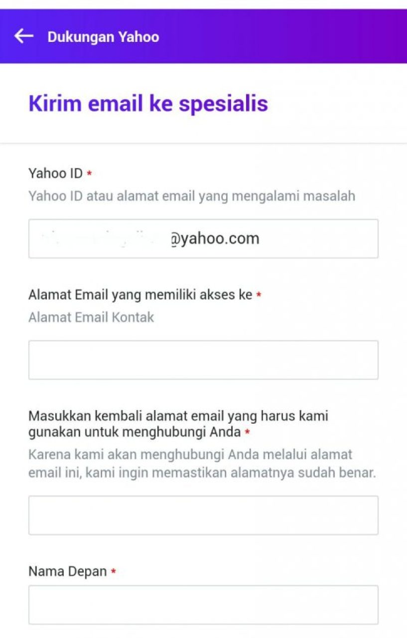 Bantuan dengan Kirim email ke spesiallis Yahoo #1