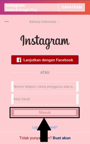 Tampilan halaman login Instagram