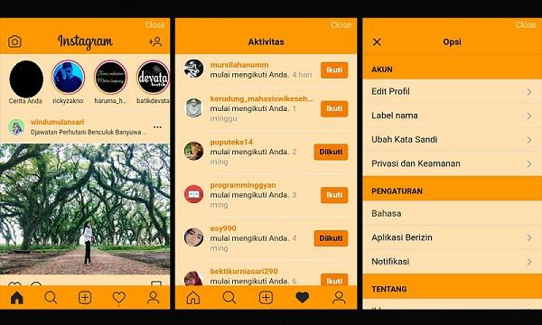 Tampilan Instagram yang berhasil mengganti warna tema