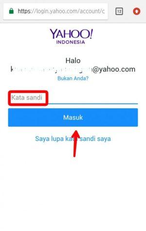Masukkan kata sandi Yahoo Mail, lalu tap masuk