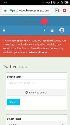 Laman untuk menghapus tweet yang ingin dihapus