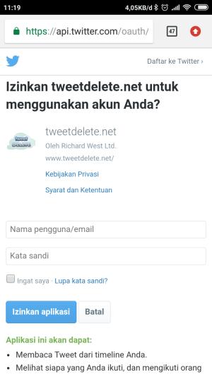 Laman pengizinan aplikasi tweetdelete.net