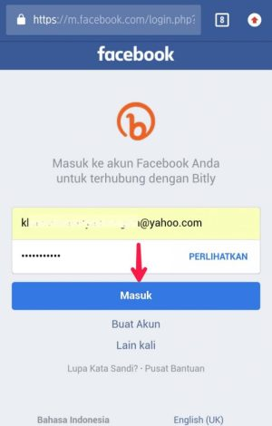Laman login Facebook, alamat email dan password facebook.