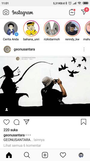 Laman utama aplikasi Instagram