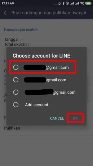 pilih akun google yang akan dihubungkan pada menu pop-up