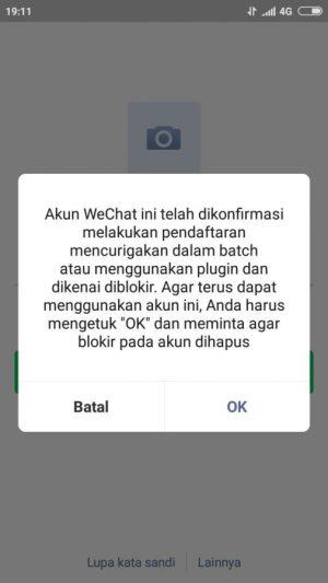 Capture gagal/kendala buat akun WeChat