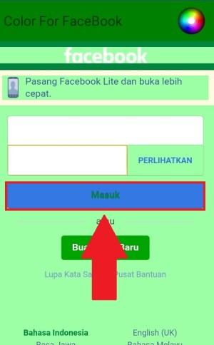 Halaman login ke akun Facebook