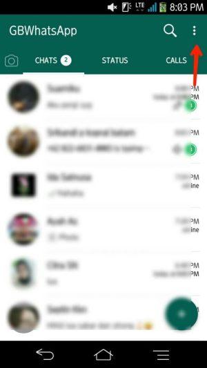 Beranda chat, tap tool titik tiga di pojok kanan atas