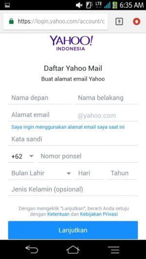 Laman mendaftar email yahoo (data diri)