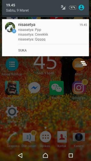 Capture contoh notifikasi ponsel