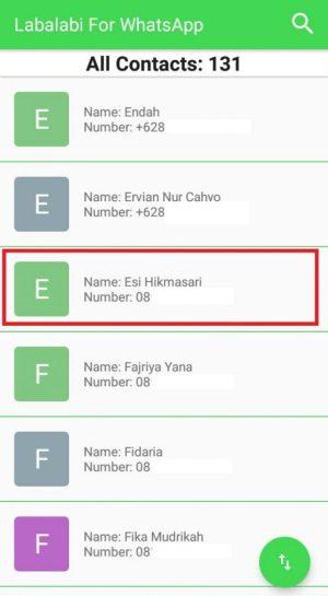 Memilih nomor Whatsapp target