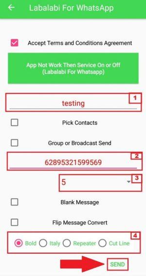Contoh pengaturan penggunaan aplikasi Labalabi for Whatsapp