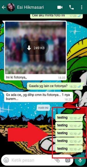 Contoh hasil bom chat
