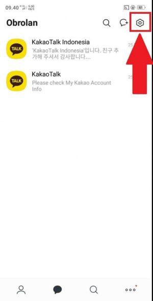 Tampilan aplikasi KakaoTalk