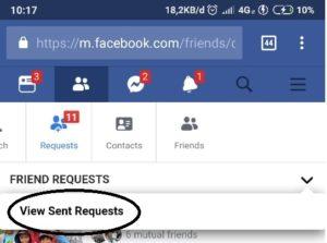 view sent request