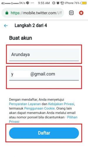 isi nama dan email