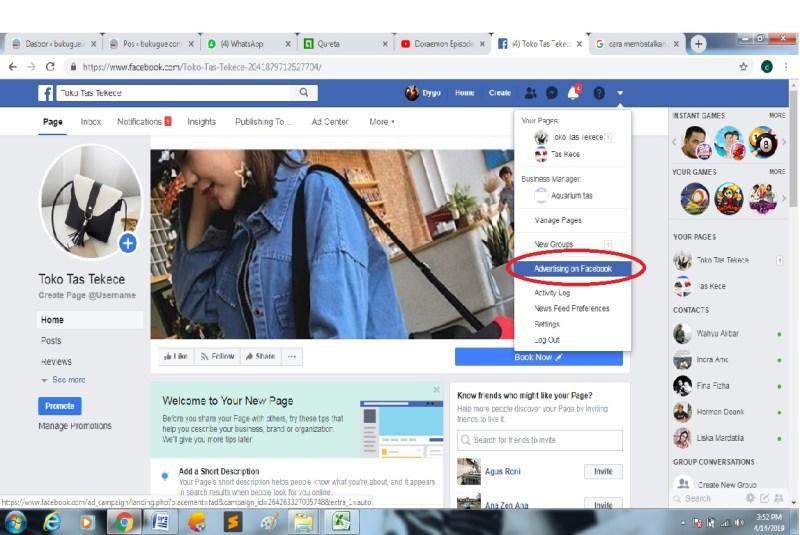 Pilih Advertising using facebook