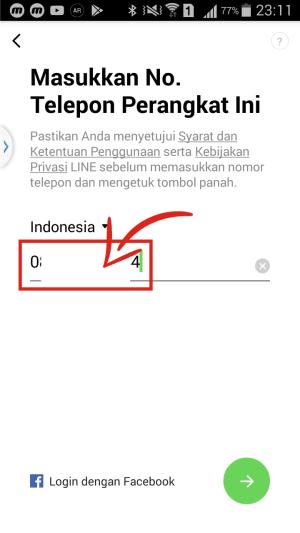 Masukkan nomor telpon yang sudah didaftarkan untuk membuat akun Line.