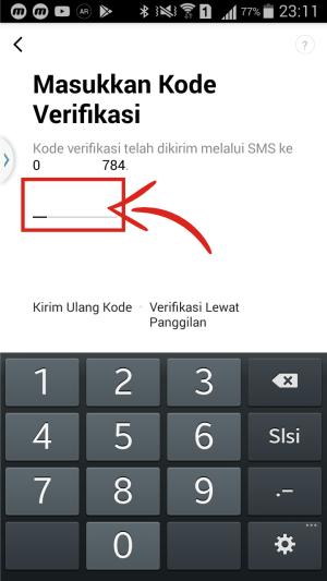 Masukkan kode verifikasi yang dikirim Line.