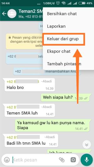 Langkah ketiga keluar grup WhatsApp, yaitu klik keluar dari grup.