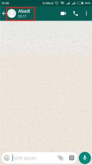 Chat kosong akan dimunculkan, tab nama/nomor telp kontak