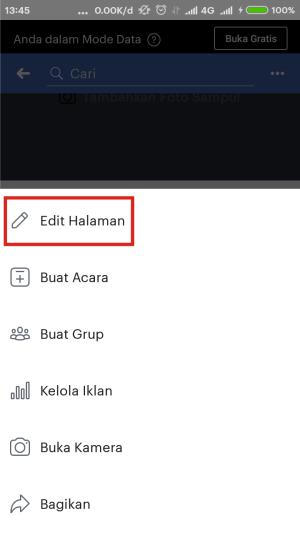 Pilih edit halaman untuk mengaktifkan auto reply.