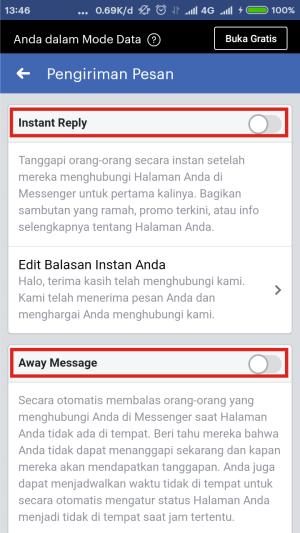 Ada dua opsi yang bisa kamu pilih, Instant Reply dan Away Message.