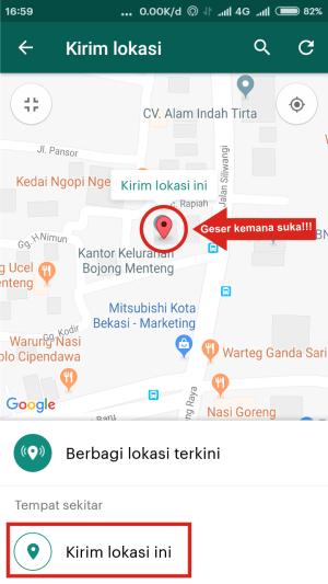 Geser titik GPS berwarna merah kemanapun kamu suka