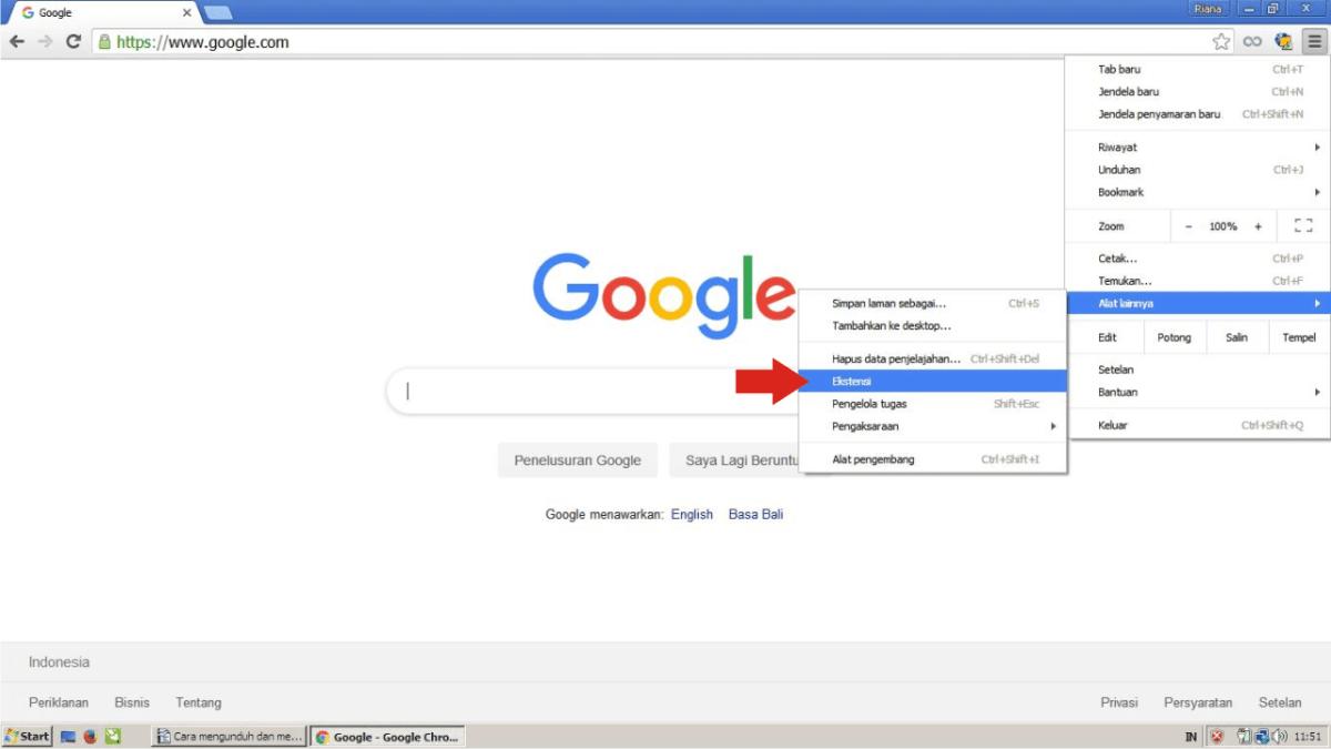 Buka Google Chrome dan cari ekstensi.