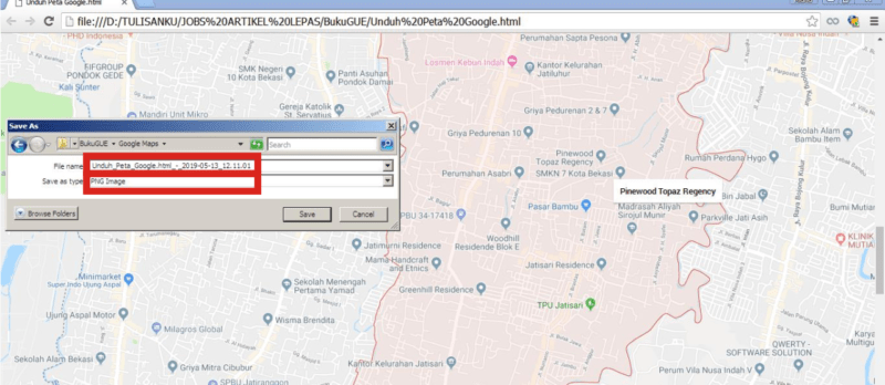 Kamu bisa menyimpan peta Google Maps yang sudah menjadi gambar.