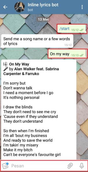 Tampilan saat melakukan percakapan dengan bot pencari lirik lagu