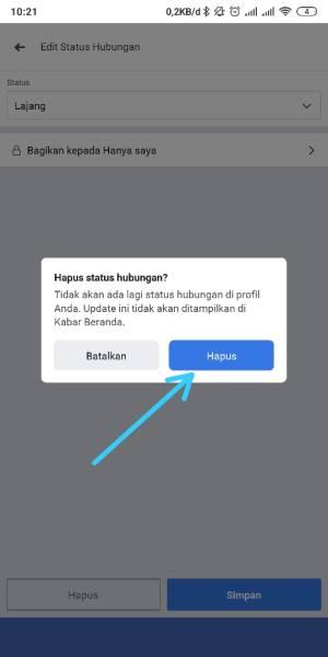 Konfirmasi Hapus Status Facebook