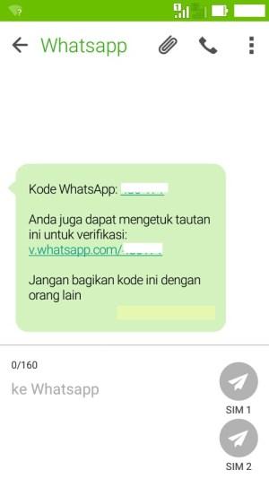 lihat kode ferivikasi di SMS