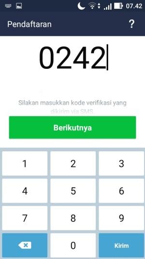 Masukkan kode verifikasi yang telah dikirim melalui SMS dan ketuk menu Berikutnya untuk melanjutkan