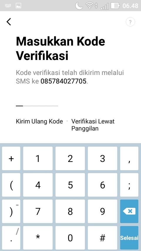 Cek SMS dan masukkan kode verifikasi