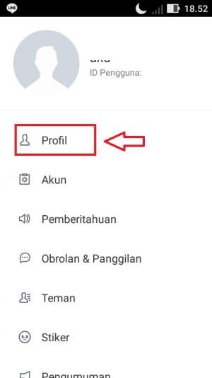 """Ketuk menu """"Profil""""."""