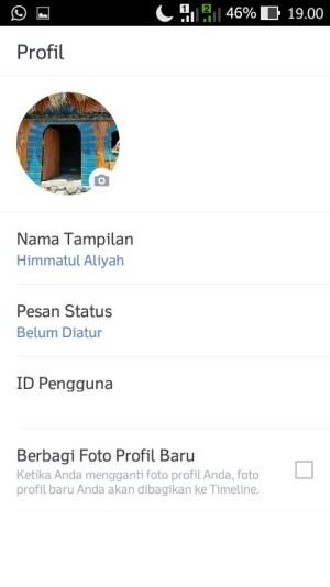 Foto profil dan nama tampilan line-mu sudah ganti dan akan tampak seperti ini.