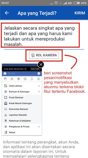 Gambar 10. tulisan apa permasalahan yang sedang kamu hadapi di akun FB-mu dan masukkan screenshot (jika ada).