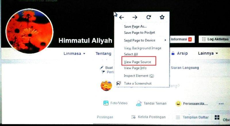 masuk ke bagian profil, klik kanan dan klik menu View Page Source