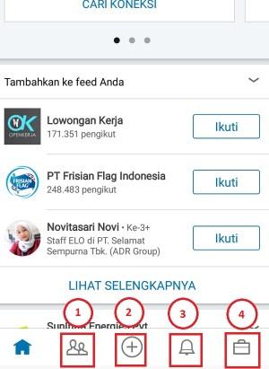 Tampilan menu yang ada di dalam aplikasi LinkedIn