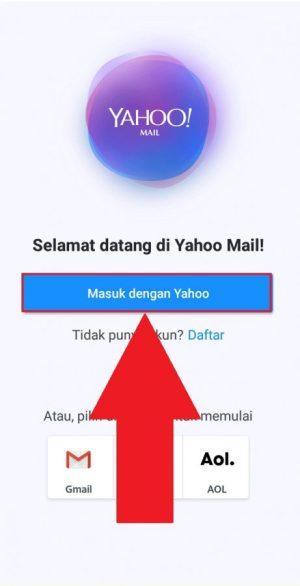 Halaman awal aplikasi Yahoo Mail di Android