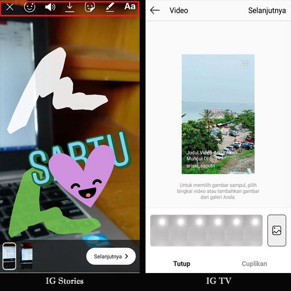 Perbedaan fitur editing tool antara IG Stories dengan IGTV