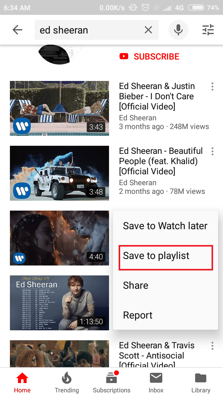 tap save to playlist