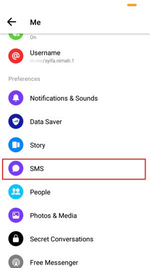 scroll layar kebawah, dan tap SMS