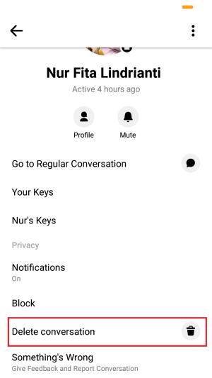 tap delete conversation