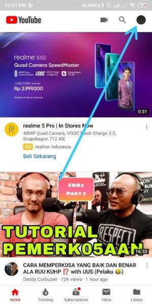 Halaman awal Youtube