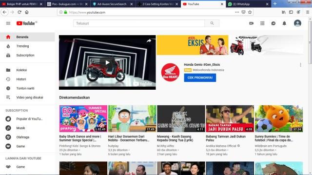 masuk ke youtube